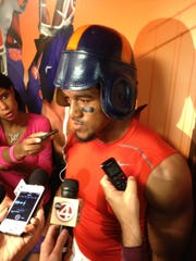 Vic Beasley donned the leather helmet after being named