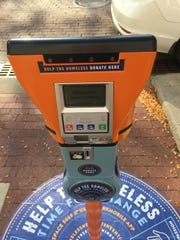 The digital display of one of the new Street Reach Indy meters Downtown.