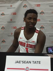 Ohio State senior forward Jae'Sean Tate is interviewed during the men's basketball team's media day Wednesday in the practice gym at the Schottenstein Center.
