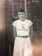 The nickname Bronchos, along with a familiar bucking horse mascot, appeared on yell leader Jim Metzger's shirt in the 1939 Nautilus yearbook.