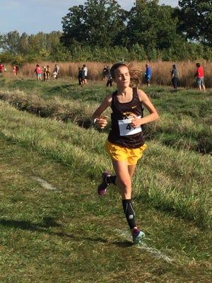Buckeye Valley girls cross country runner Chloe Dawson runs to a win at the Harding Invitational on Saturday.