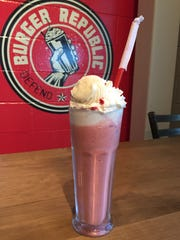The Nothing Bundt Cake shake at Burger Republic is made with whipped vodka and a red velvet bundtini from Nothing Bundt Cakes.