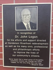 The plaque honoring Dr. John Logan at the Seventh Street