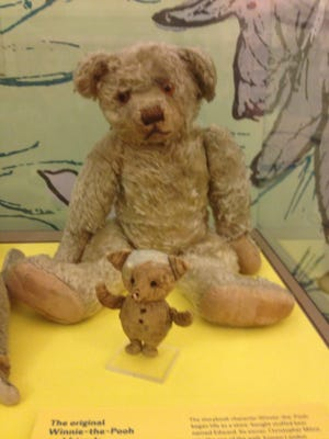 The real, much-loved Winnie-the-Pooh, with his tiny pal, Piglet.