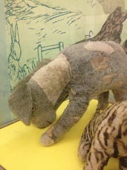 Eeyore seems shy in his display case at the New York