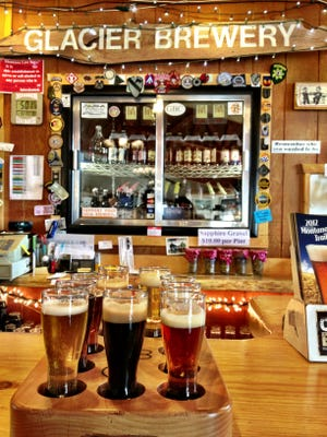 A sample tray of brews at the Glacier Brewery in Polson includes root beer and pepper pop.