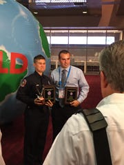 """Drew Lubber (right) picks up his regional """"First Responder"""
