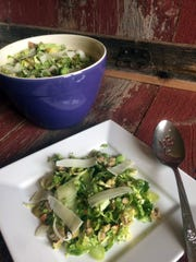 Thinly sliced broccoli and brussels sprouts combine