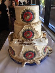 A three-tiered cake was a feature of an annual celebration of the Marine Corps' birthday in Desert Hot Springs.