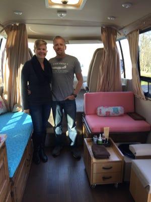Deborah Burchett and her husband Derrick inside her mobile nail and skin care salon Glam on Wheels.