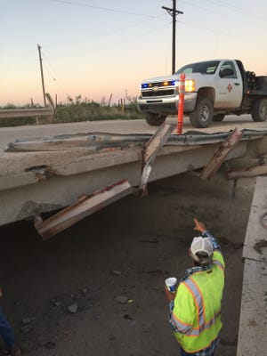 A guardrail on the London Road Bridge has been damaged as vehicles turn right on London from Porter Road. Eddy County has repaired the guardrail five times in the last four months, with cost at about $6,000.