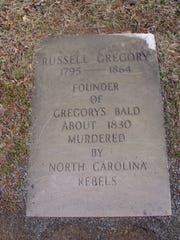 The grave marker of Russell Gregory in Cades Cove's Primitive Baptist cemetery in the Great Smoky Mountains National Park