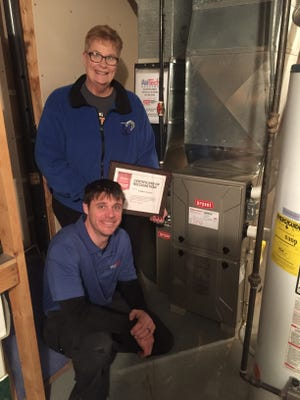 Debbie Gorske received a Bryant high-efficiency gas furnace installed on Dec. 26, 2017, by Air Tech Heating. Pictured is Gorske with Ben Wellens, new Installation manager at Air Tech Heating, who is installing the furnace.