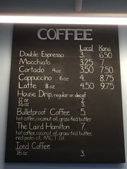 The coffee menu at Kona Espresso Bar
