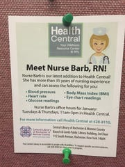 Fliers advertise nursing services offered at the Central Library twice a week.