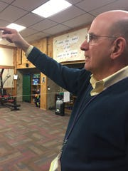 Gary De Carolis, executive director of the Turning Point Center, talks about the malfunctioning heat on Jan 8, 2018. Behind him is one of the space heaters the center is relying on.