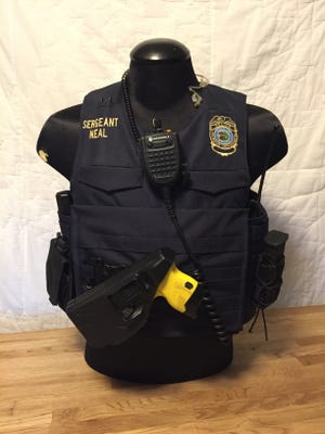 The vest designed by Travis Neal, a Purdue Police Sgt.