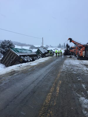 A crash between a tractor trailer and a snow plow truck caused the shutdown of Route 221 for three hours.