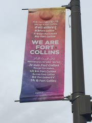 "The first edition of the ""We are Fort Collins"" banner featured phrases in English and 14 other languages."