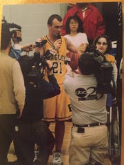 Day School's Jeremy Willis is interviewed after setting the City's career scoring record in 1999.