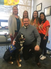 Skye and Commercial Township School District superintendent/principal Daniel Dooley, are headed to Westminster Dog Show on Tuesday to compete. Cheering them on are (right to left) school psychologist Jennifer Machinsky, school counselors Jessica Torcicollo and Allison Kilbride, and technology coordinator Kerri Zeleniak.