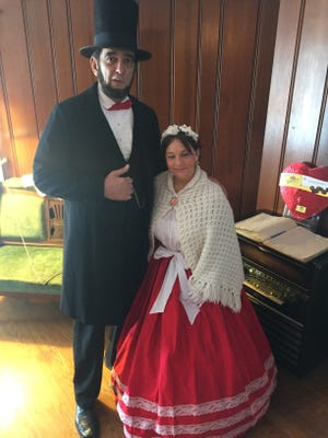 Abraham Lincoln (Ron Carley) joined Mary Todd Lincoln  (Tina Hadley Woolum) for a recent Valentine's Tea at the Westland Historic Village Park.