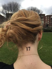 The 17 tattooed on Vanderbilt freshman Abby Brafman's