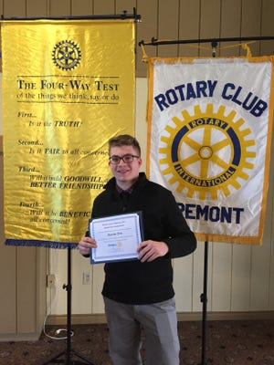 "Vanguard Career Center senior Austin Dix, a Gibsonburg native, wins first place at the Fremont Rotary Club's ""Four-Way Speech Contest."""