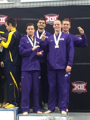 Former San Angelo Central High School swimmer Matt Brewer (front row, right) recently completed his freshman season at TCU.