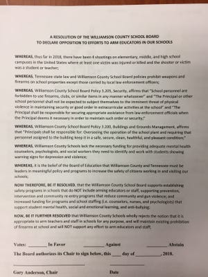 Williamson County school board member Anne McGraw proposed a resolution Thurs. March 15, 2018 to oppose efforts to arm teachers.