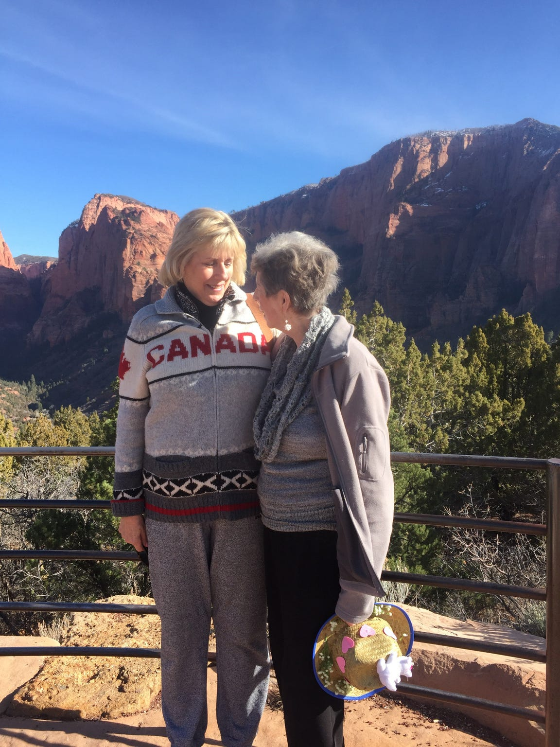 Kathy Kirkland (left) and her mother, Joan Harrison, visit Kolob Canyon in Zion National Park during Kirkland's trip to Utah in January 2018.