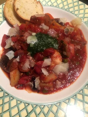 Basil oil is an optional topping for the ratatouille served at Pastiche Bistro.