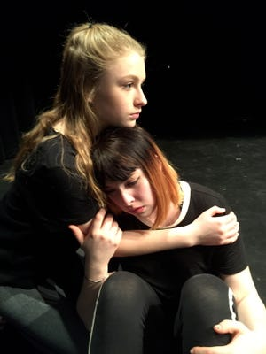 Makayla Kratcha, left, and Dakota Berndt in a scene from this year's LEAP: The Human Kindness Project production. The theme for this year's program, created and performed by Door County high school students, is Authenticity, or being true to one's self in today's world.