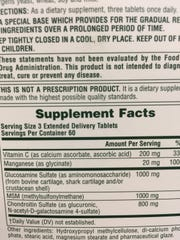 The label shows some unusual origins for glucosamine.