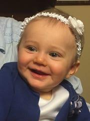 Grace Victoria Chapman, 8 months, of Elmer, smiles