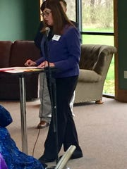 Fairfield County Republican commissioner candidate Lisa Reade speaks at Thursday's Pickerington Area Chamber of Commerce debate. She will face Jeff Fix in the May 8 primary barring incumbent Mike Kiger's recovery from illness.