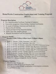 "A flyer for Interfaith Community Housing of Delaware's HomeWorks program, a construction ""pre-apprenticeship"" that uses a curriculum from the Home Builders Institute."