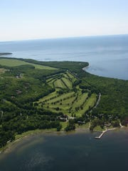 Aerial view of the Alpine Resort and Golf Course property for sale for $15 million.