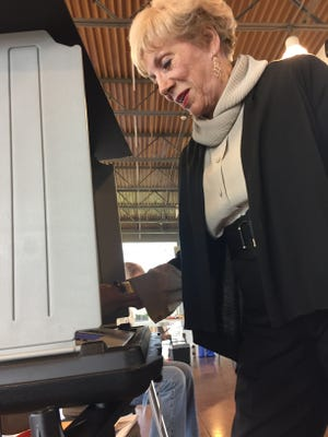 Margaret Pace casts her votes in the county primary election on May 1, 2018, at the Wilma Rudolph Event Center.