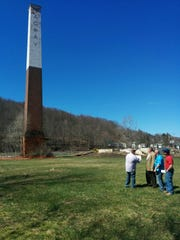 A chimney that will be taken down at the site of the