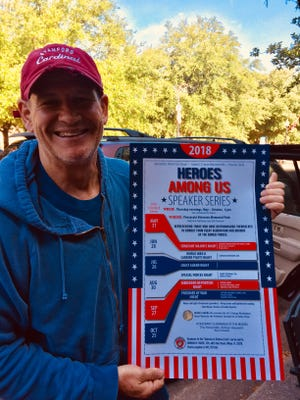"""Col. Chris """"Caveman"""" Holzworth delivers the dates for the 2018 Heroes Among Us Speaker Series in downtown Pensacola. Oorah!"""