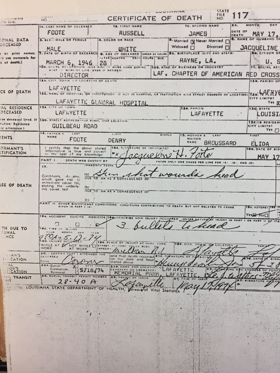 The 1974 death  Russell Foote was listed as homicide