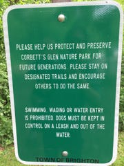 Signs were posted last week prohibiting swimming and