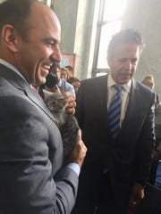 Reps. Jimmy Panetta (left) and Mike Bishop hang out