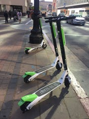Lime Scooters waiting for riders in Oakland near the