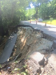 A section of Park Road in Chimney Rock State Park collapsed