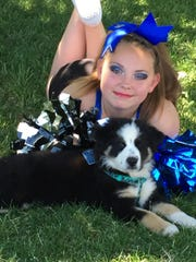 TomCats cheerleader Emily Kruger poses with her service dog, Colt, a Miniature Australian Shepard that can sense Emily's blood sugar levels while she sleeps.