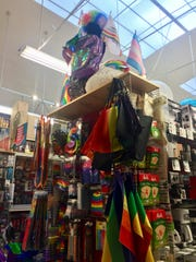 Gay pride paraphernalia for sale at Cliff's Variety Store in San Francisco's Castro District in advance of the 2018 gay pride parade.