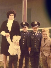From left to right: Varricchio's biological mother, Joan, Kurt (smallest kid), twin brothers, Eddie and Tommy, and brother Steve.