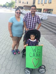 Leanna Delacruz, Cristian Rubio and their daughter Layla Rubio attended the Families Belong Together march in Green Bay on June 30, 2018.